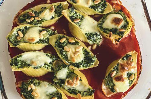 Gefüllte Conchiglioni mit Spinat und Ricotta